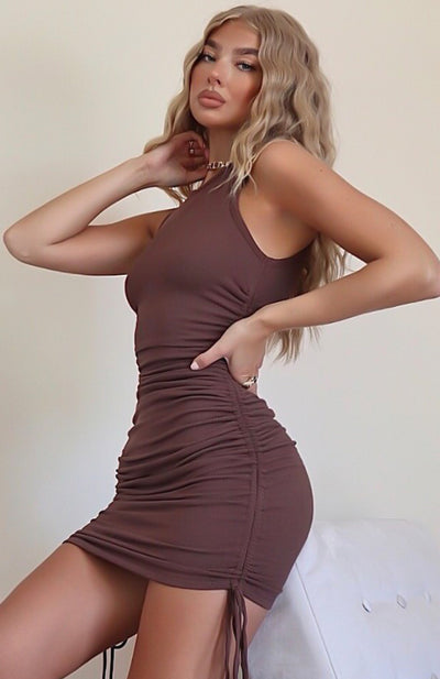 Play It Loud Drawstring Mini Dress Chocolate