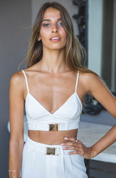 Buckle Bralette Crop White