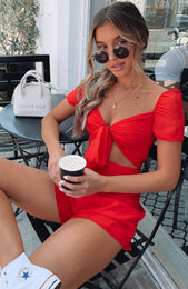 Hot Shot Playsuit Red