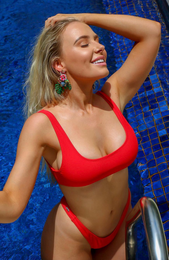 Flamingo Bikini Top Red