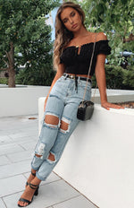 Let's Bounce Distressed Jeans Washed Blue Denim