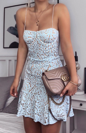 Venice Lace Mini Dress Baby Blue