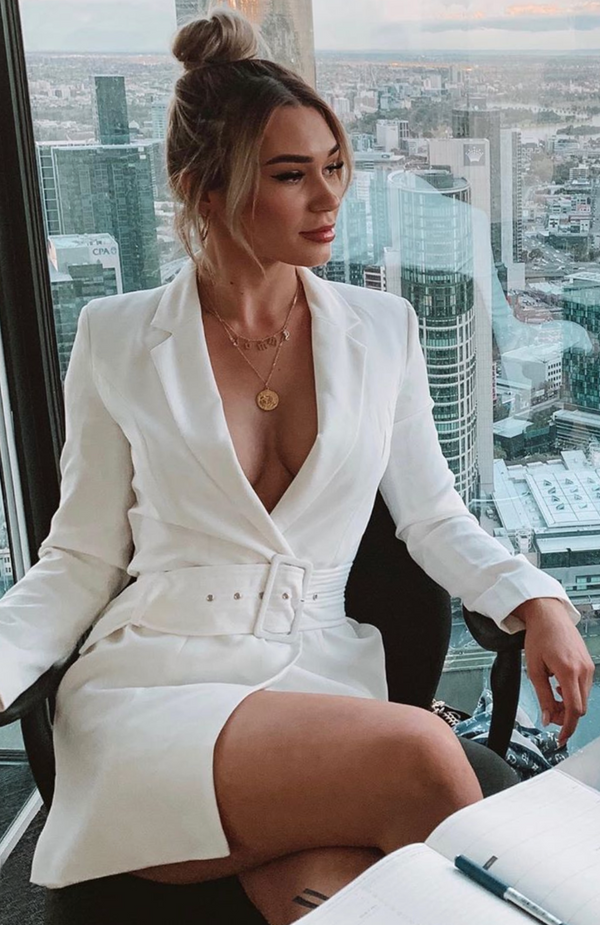 Join The Club Blazer Dress White