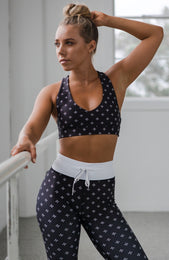 White Jasmine Sports Bra Midnight Clover Print
