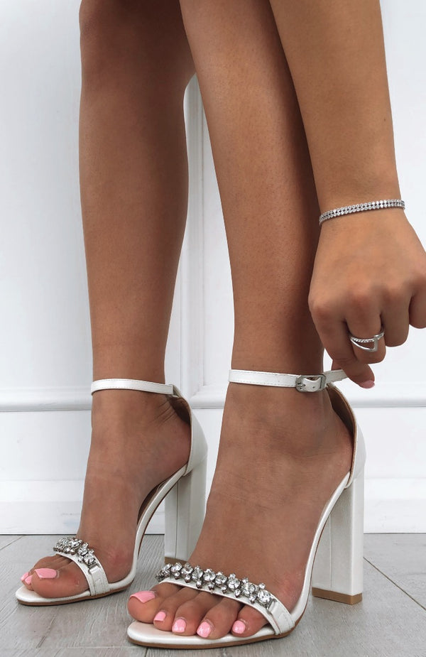 Laine Heels White Pearl