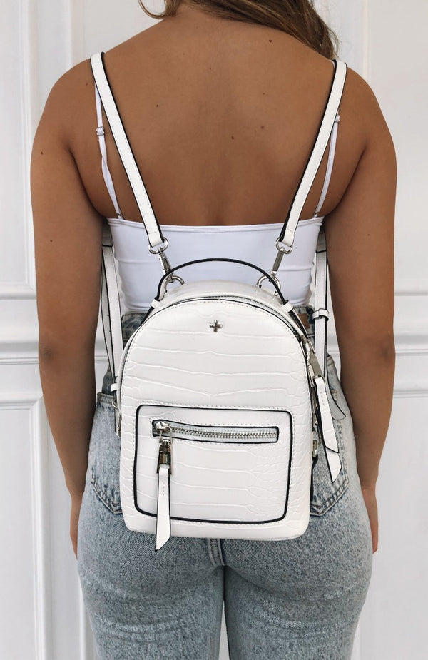 Zoe Mini Backpack White Croc