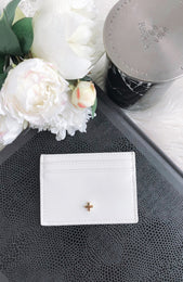 Izzy Card Holder White Saffiano