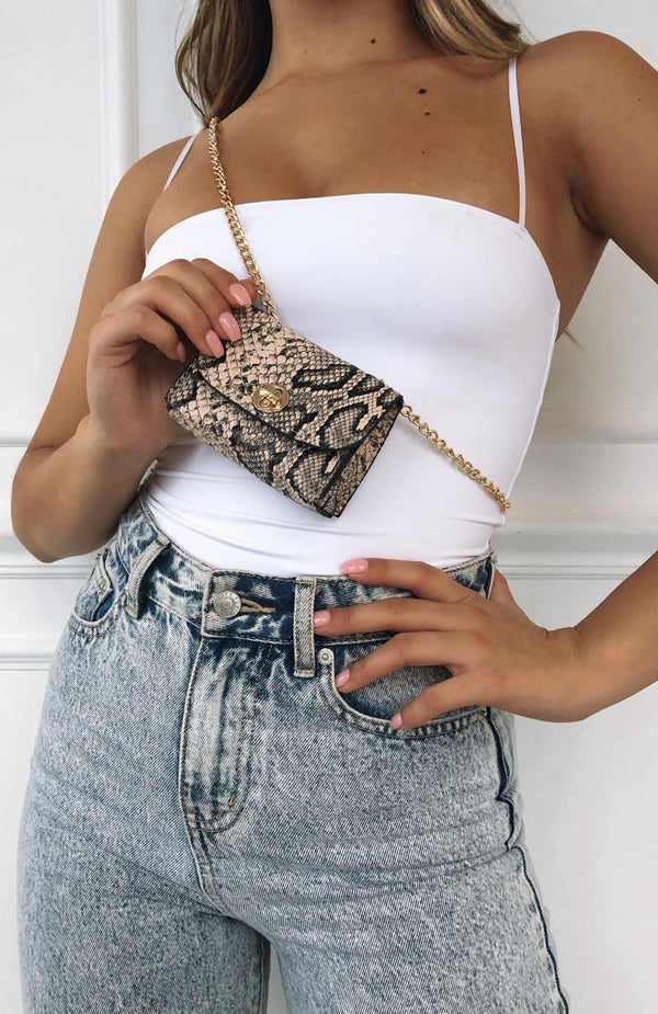 Bambi Belt Bag Beige Snake