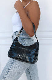 Tal Mini Shoulder Bag Black Croc