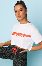 Throw It On Cropped Tee White