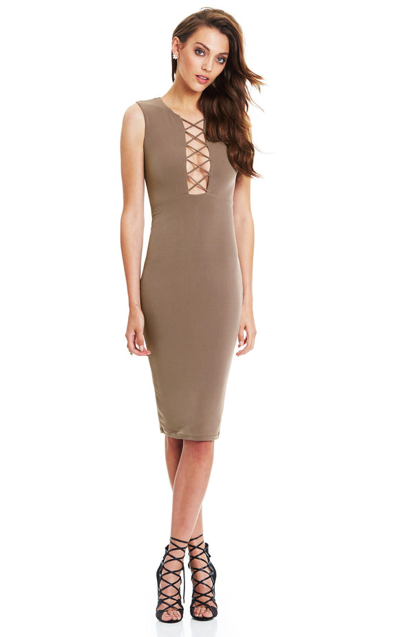 Ti Amo High Neck Dress Mocha