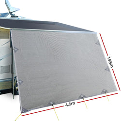 4.6M Caravan Privacy Screens 1.95m Roll Out Awning End Wall Side Sun Shade