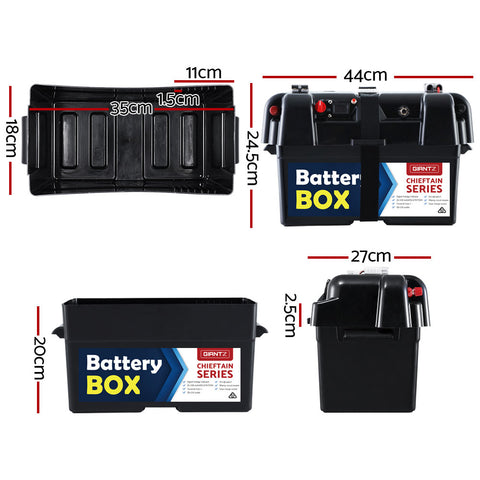 GIANTZ Battery Box 12V Camping Portable Deep Cycle AGM Universal Large USB Cig