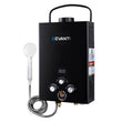 DEVANTi Portable Gas Water Heater Hot Shower Camping LPG Outdoor Instant 4WD Black