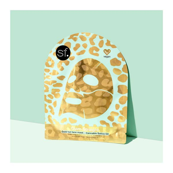 GLAM STRAIGHT : The Gold Foil Leopard Pattern Face Mask with Cannabis Sativa