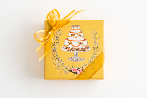 Hand Decorated Box - 4 Piece Party Favor Box with Cake Design