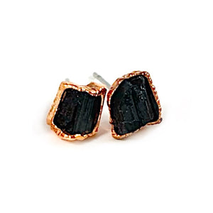 Black Tourmaline Stud Earrings | October Birthstone