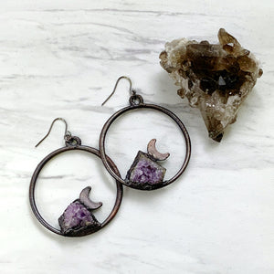 Amythyst Cluster Moon Earrings | February Birthstone