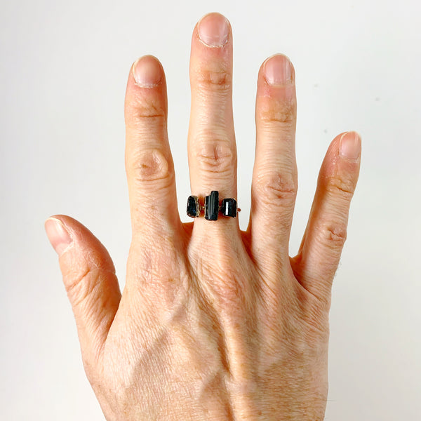Black Tourmaline Three Stone Silver Ring