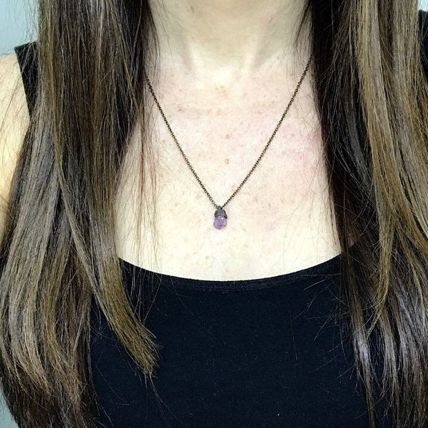 Tiny Amethyst Point Necklace | February Birthstone