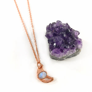 Moonstone Moon Necklace | June Birthstone