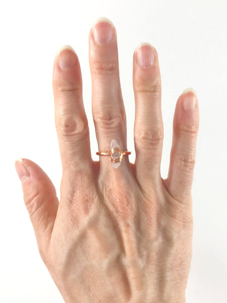 Rose Quartz and Herkimer Diamond Ring