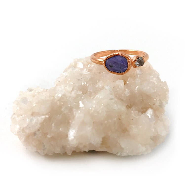 Charoite and Herkimer Diamond Ring