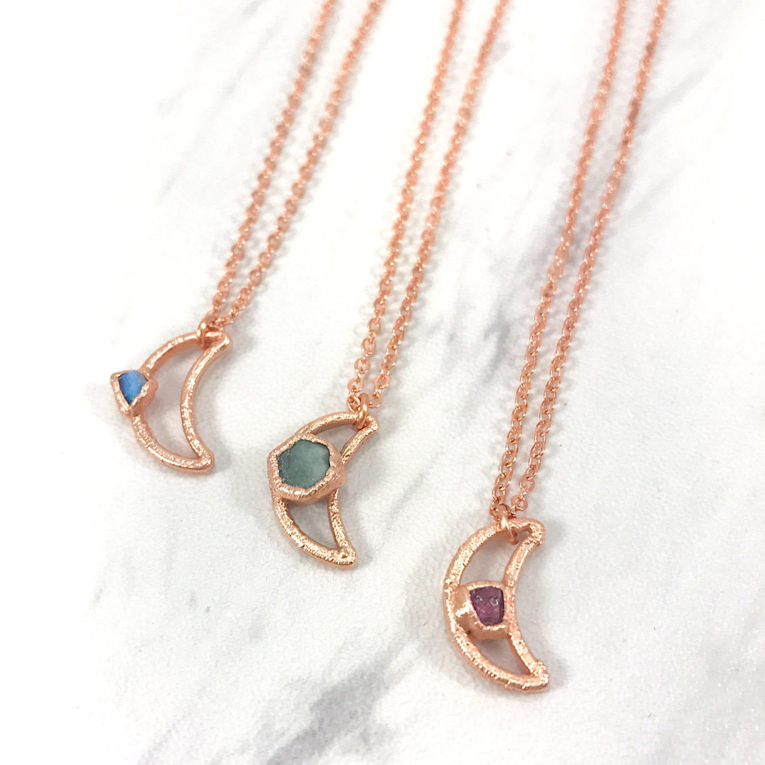 Tiny Gem Moon Necklace