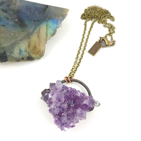 Amethyst Druzy Necklace | February Birthstone