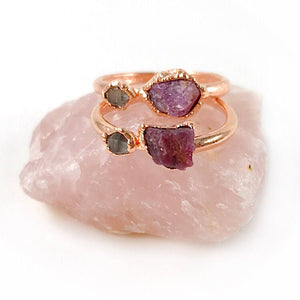 Ruby and Herkimer Diamond Ring | July Birthstone