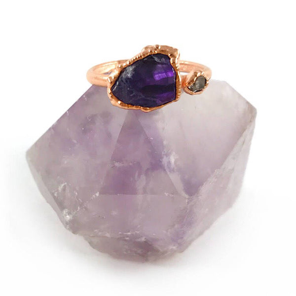 Amethyst and Herkimer Diamond Ring | February Birthstone