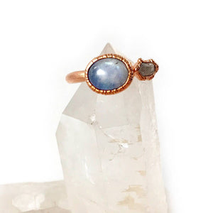 Moonstone and Herkimer Diamond Ring