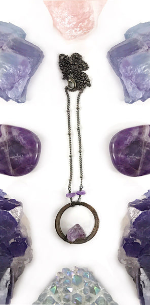 Amethyst Circle Necklace | February Birthstone