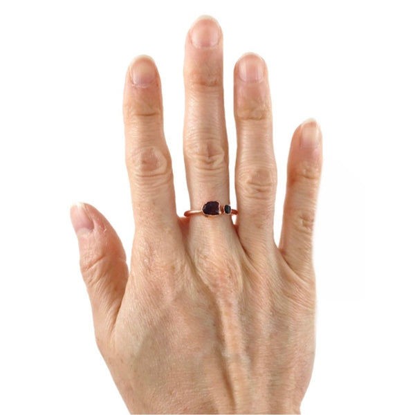 Black Tourmaline and Garnet Ring