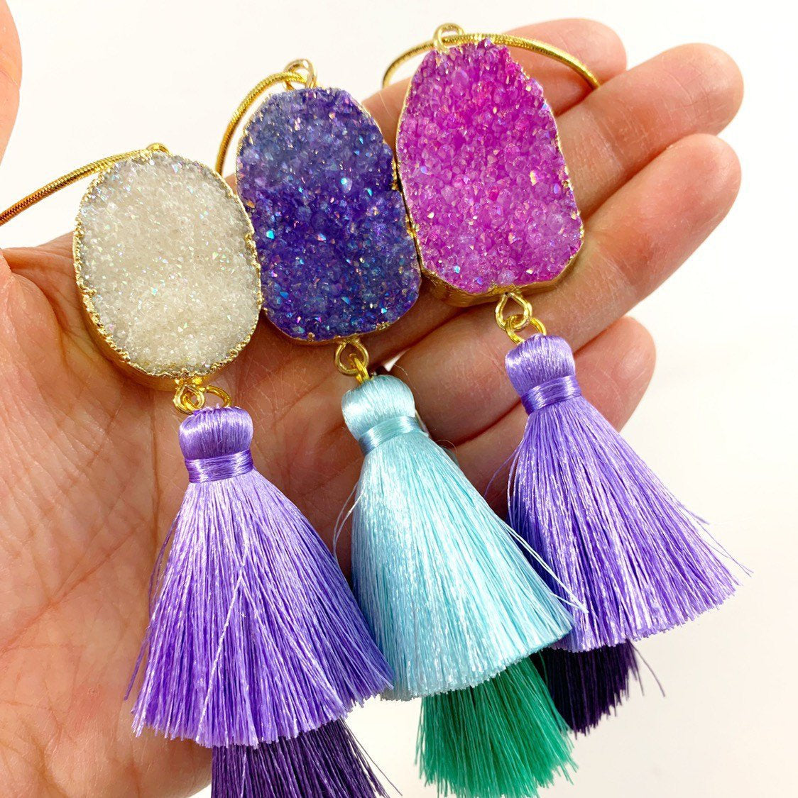 Druzy Tassel Holiday Ornament