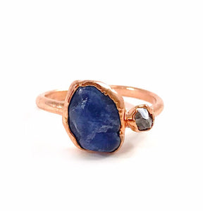 Sodalite and Herkimer Diamond Ring
