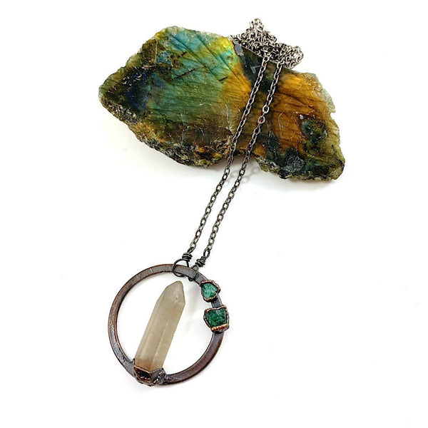 Smoky Quartz and Emerald Circle Necklace
