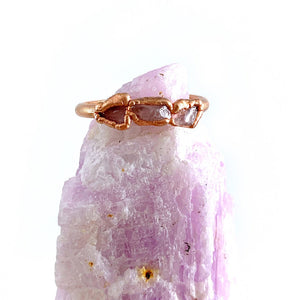 Rose Quartz Triple Stone Ring