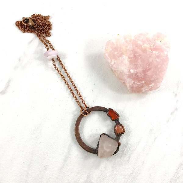 Rose Quartz and Carnelian Circle Necklace