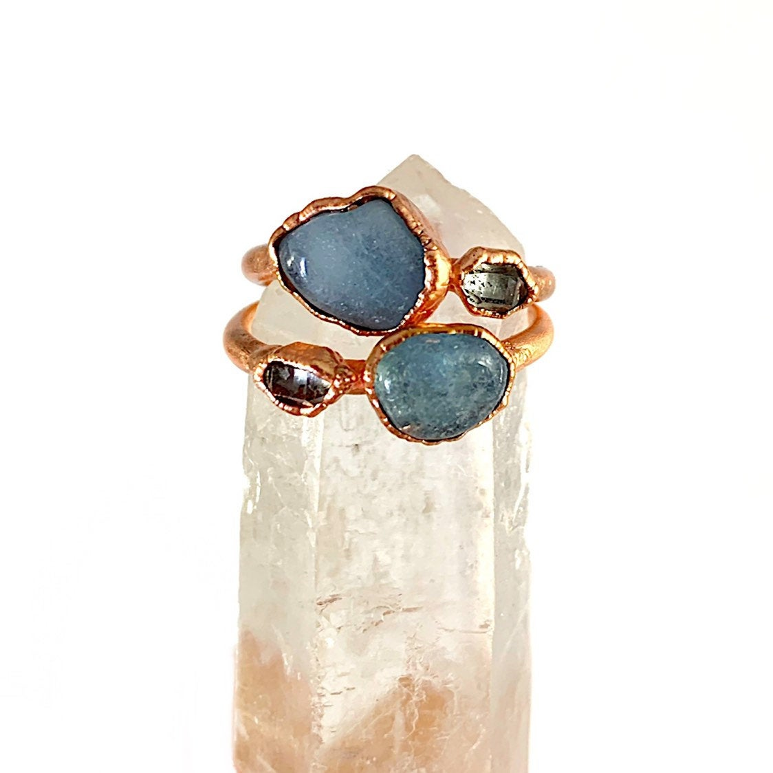 Aquamarine Ring and Herkimer Diamond Ring | March Birthstone