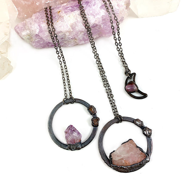 Amethyst and Rose Quartz Circle Necklace