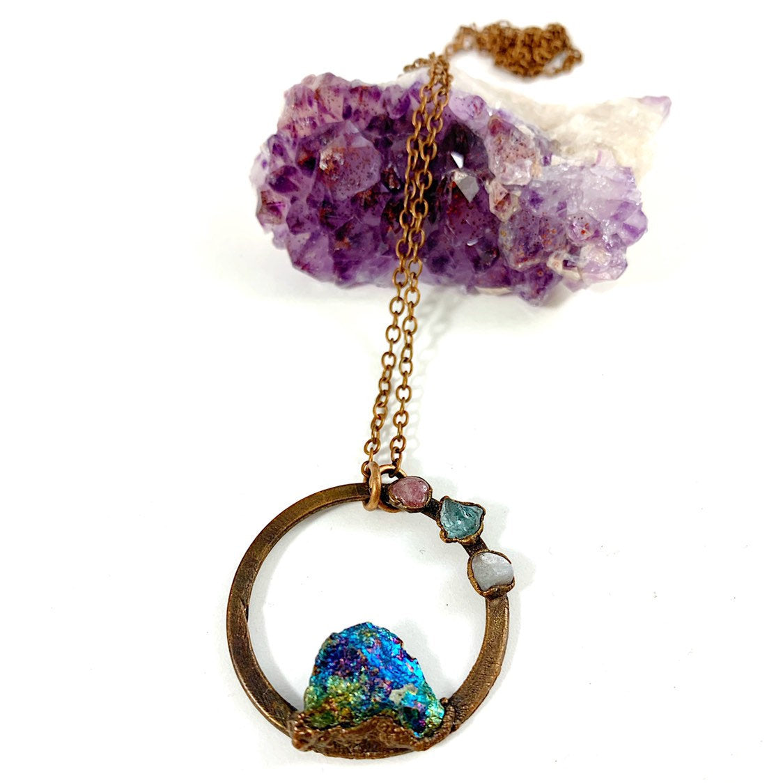 Peacock Ore Circle Necklace