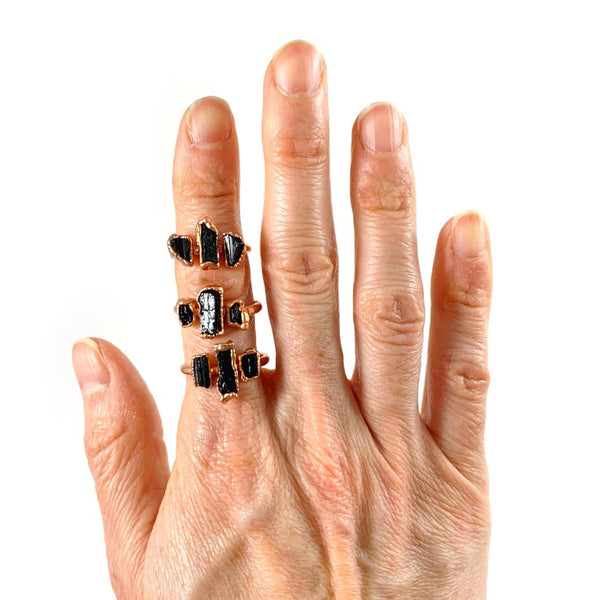 Black Tourmaline Three Stone Ring