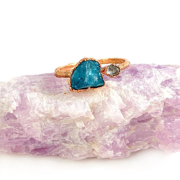 Blue Apatite and Herkimer Diamond Ring
