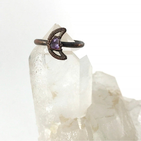 Amethyst Crescent Moon Ring | February Birthstone