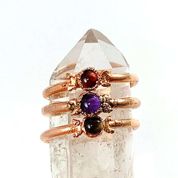 Triple Moon Smoky Quartz Ring