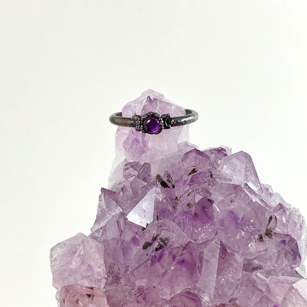 Amethyst Triple Moon Ring | February Birthstone