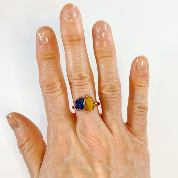 Lapiz Lazuli and Yellow Jasper Ring