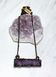 Amethyst Druzy Bar Necklace | February Birthstone