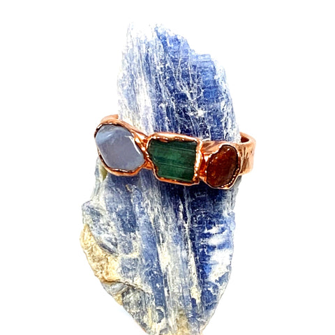 Blue Lace Agate, Tourmaline and Carnelian Ring